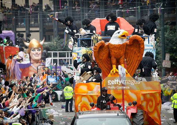 A float in the Krewe of Zulu parade makes it way down St Charles Avenue in New Orleans on Mardi Gras Day Fat Tuesday the traditional celebration on...