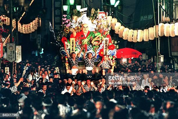 A float marches during the Hakata Gion Yamakasa festival on July 15 2015 in Fukuoka Japan
