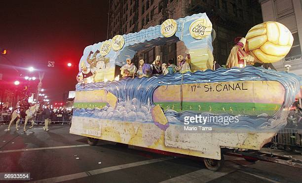 A float mocking one of the levee breaks is seen in the Krewe D'etat Parade during Mardi Gras festivities February 24 2006 in New Orleans Lousiana New...