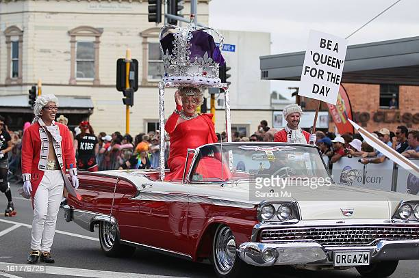 A float moves down Ponsonby Road during the Pride parade on February 16 2013 in Auckland New Zealand The gay parade celebrating lesbian gay bisexual...