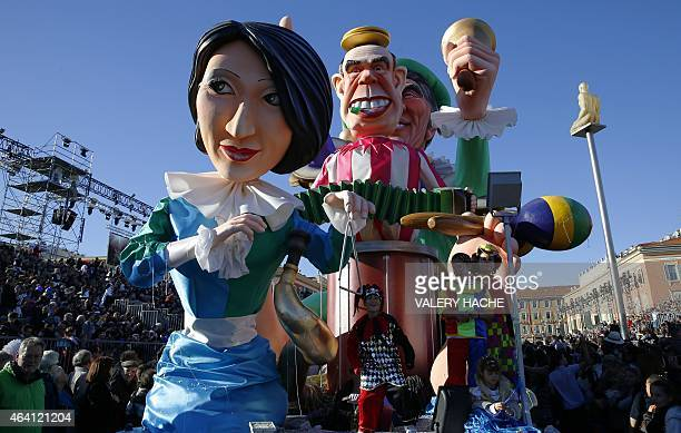 A float named 'Hit the road Jack' depicting current French Culture minister Fleur Pellerin and former French Culture ministers Frederic Mitterrand...