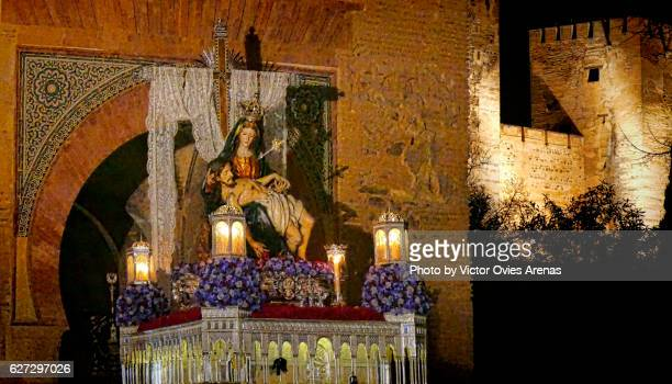 Float of Our Lady of the Alhambra at midnight inside the Alhambra during the annual Easter procession on Holy Saturday in Granada, Andalucia, Spain
