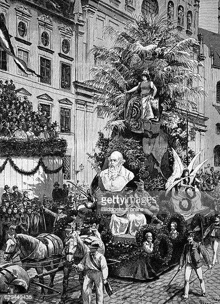 A float of the festival procession seventh german gymnastics festival in munich bavaria germany historical engraving about 1888