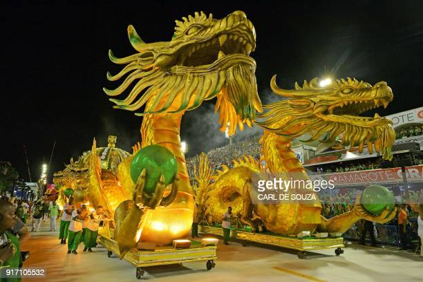 A float of the Imperio Serrano samba school is pictured during the parade on the first night of Rio's Carnival at the Sambadrome in Rio de Janeiro...