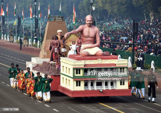 A float of the Indian state of Tamilnadu takes part in the full dress rehearsal for the upcoming Indian Republic Day parade in New Delhi on January...