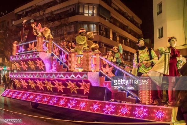 Float of the three wise men seen during the Wise men celebration in Madrid Spain