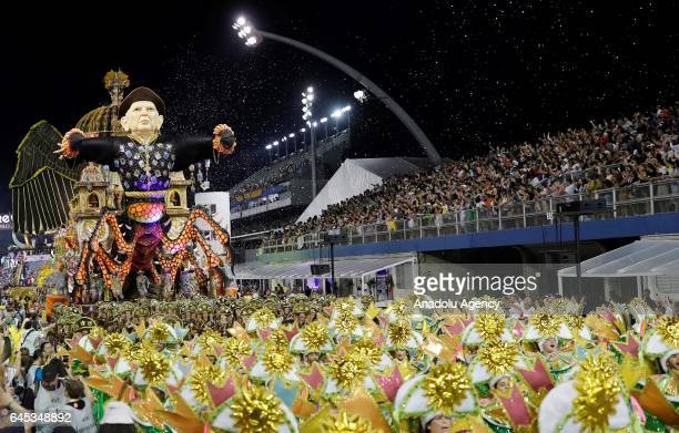 A float of the Tom Maior samba school parades during a carnival at the Sambadrome in Sao Paulo Brazil on February 25 2017