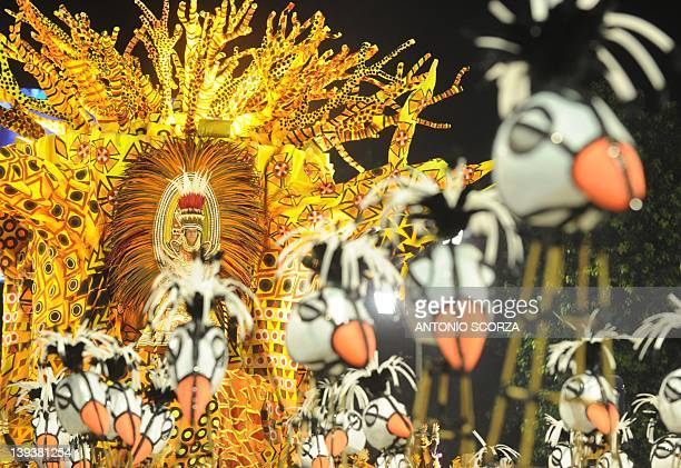 A float of Vila Isabel samba school representing a baobab tree to pay homage to Angola is seen during the first night of carnival parade at the...