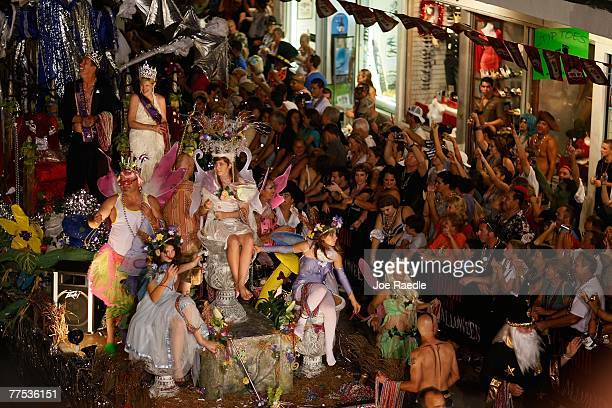 A float passes through the streets during the Fantasy Fest Masquerade parade October 27 2007 in Key West Florida The ten day costuming and masking...