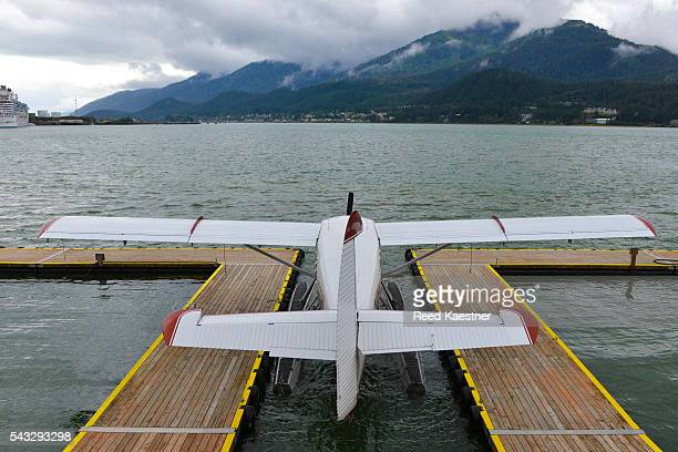 Float plane docked and ready for takeoff on water