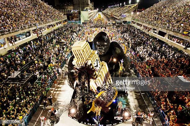 Float platform on wheels with display Samba Schools Parade Rio de Janeiro carnival Brazil Salgueiro School at 2011 parade