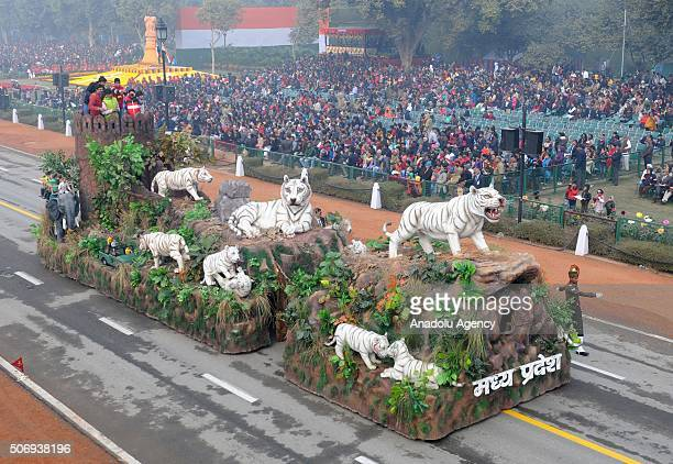 A float portrays culture of the northern Indian state of Rajasthan parades during India's Republic Day parade in New Delhi India on January 26 2016
