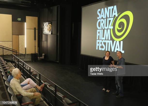 'Float' producer Kate Preusser and director Karl Preusser speak onstage during QA at the 2018 Santa Cruz Film Festival on October 7 2018 in Santa...