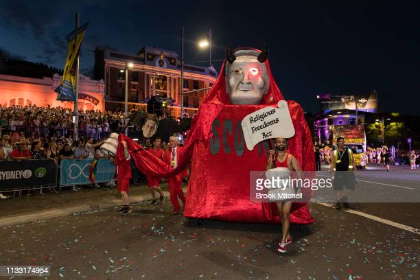 A float referencing controversial proposed political reforms is seen during the 2019 Sydney Gay Lesbian Mardi Gras Parade on March 02 2019 in Sydney...