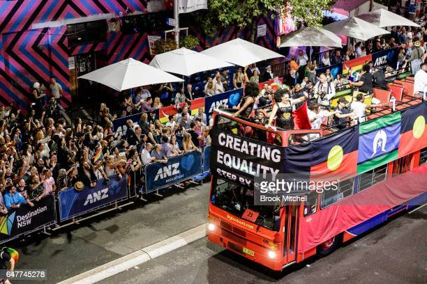 A float representing Aborginal and Torres Straight Islanders during the 2017 Sydney Gay Lesbian Mardi Gras Parade on March 4 2017 in Sydney Australia...