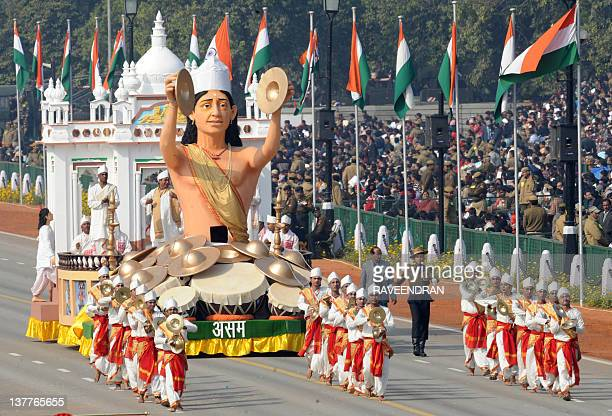 A float representing the Indian state of Assam rolls past during the Republic Day parade in New Delhi on January 26 2012 India celebrated its 63rd...