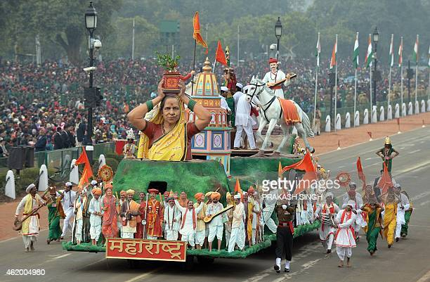 A float representing the Indian state of Maharastra rolls down Rajpath during the full Republic Day Dress rehearsal in New Delhi on January 23 2015...