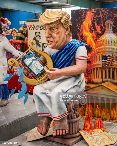 Float that depicts the US President Donald Trump is displayed during a press preview by the Mainzer Carnival Club on February 18, 2020 in Mainz,...