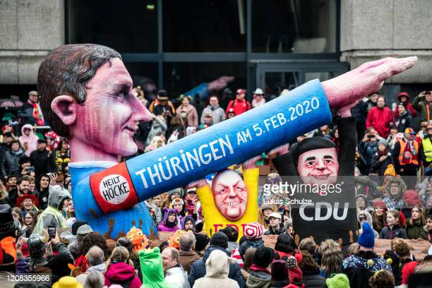A float with an effigy depicting Bjoern Hoecke member of the rightwing Alternative for Germany political party Thomas Kemmerich former Prime Minister...