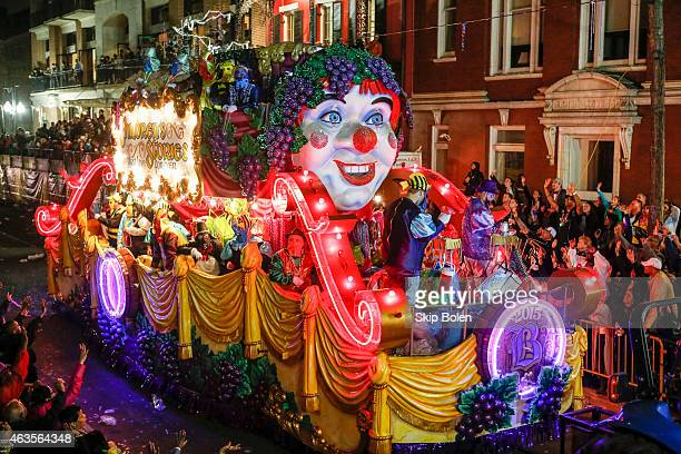 A float with the theme 'Children's Stories That Live Forever' in the Krewe of Bacchus parade during Mardi Gras on February 15 2015 in New Orleans...