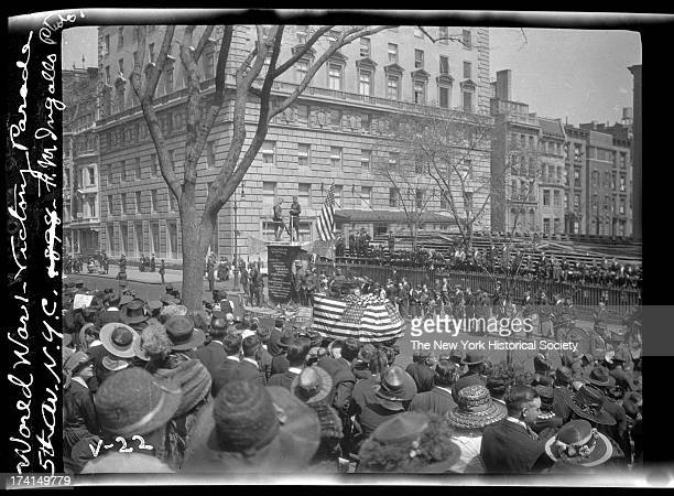Float World War I victory parade Fifth Avenue near 80th Street New York New York late 1910s