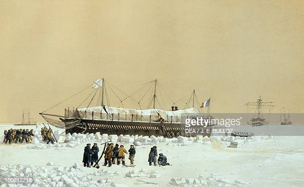 Floating battery La Tonnante in the ice before KilBouroun Eugene Ciceri engraving Crimean War Ukraine 19th century
