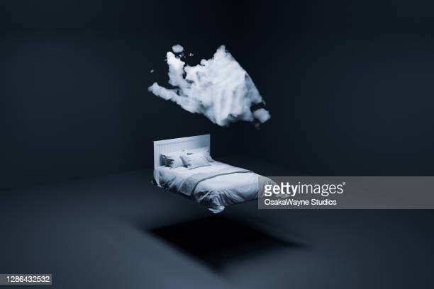 floating bed and cloud - sleeping stock pictures, royalty-free photos & images