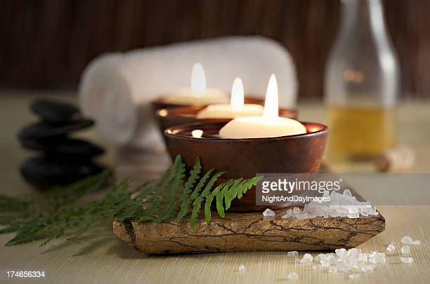 Floating Candles in a Zen Spa, Massage Stones and Oil