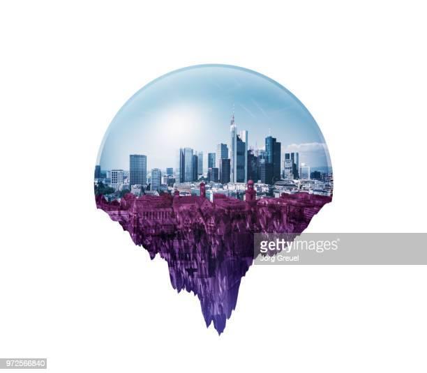 floating city under a glass dome - cúpula fotografías e imágenes de stock