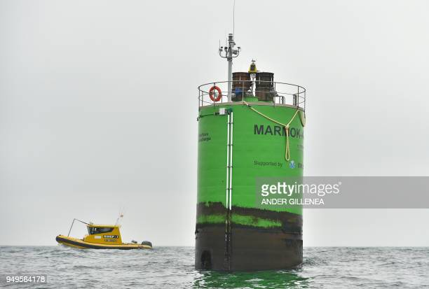 A floating device of BIMEP is pictured during a visit to Biskay Marine Energy Platform near the Spanish Basque city of Lemoiz on April 20 2018 The...