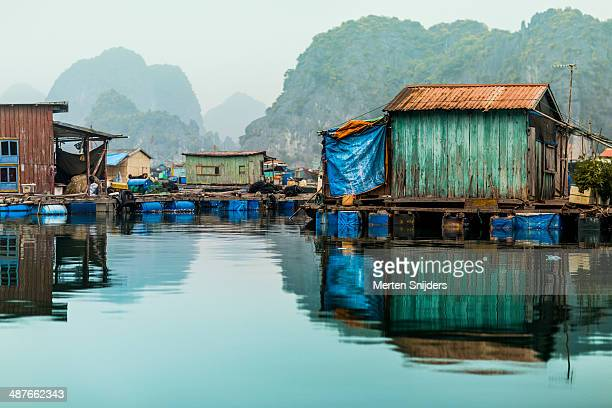 floating fishing village at ha long bay - merten snijders photos et images de collection