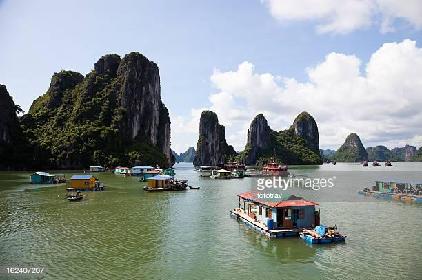 Floating fishing village in Halong Bay, Hanoi, Vietnam