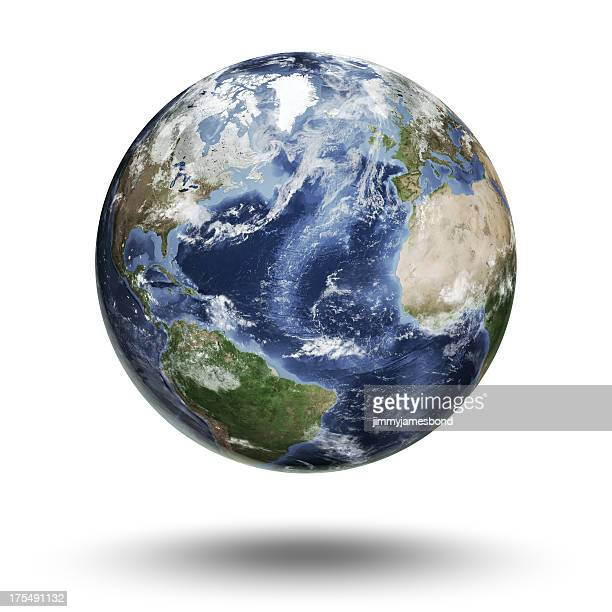 floating globe focused on the atlantic ocean - planet earth stock pictures, royalty-free photos & images