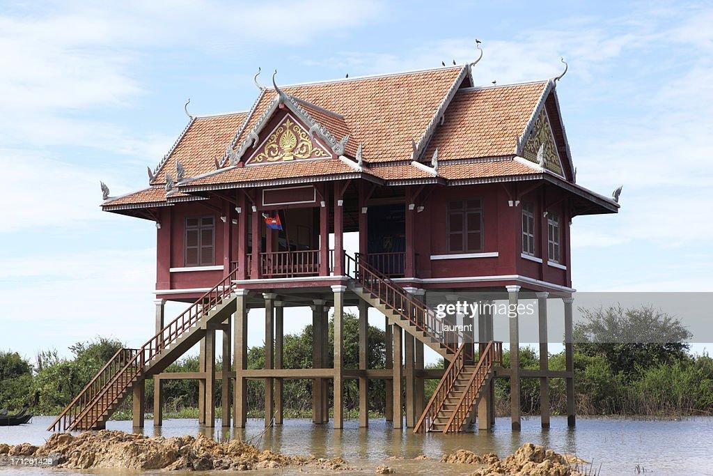 Floating home on Tonle Sap, Cambodia : Stock Photo