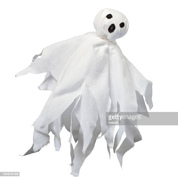 Floating Homemade Cloth Ghost Isolated on White