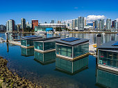 Floating homes in the harbour.