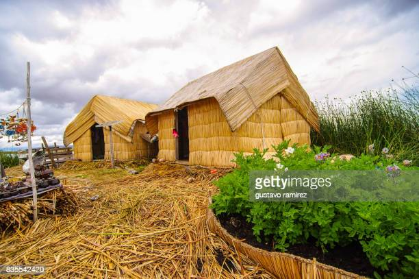 Floating homes of the island of uros in puno near titicaca lake