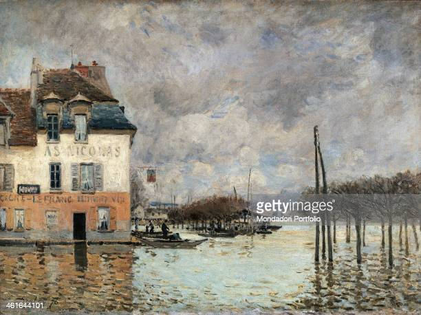 Floating in PortMarly by Alfred Sisley 19th Century oil on canvas France Paris Musée d'Orsay Whole artwork view Lanscape with floating in PortMarly...