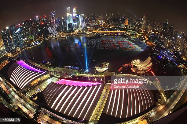 Floating installation of more than 20,000 wishing spheres forms up the number 50 as Singapore prepares to usher in the New Year at Marina Bay on...