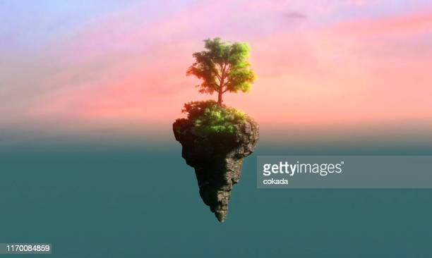 floating island - dreamlike stock pictures, royalty-free photos & images