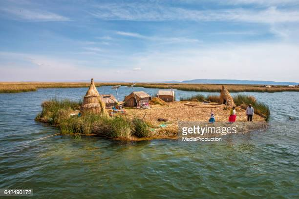 Floating islands of late Titicaca of Puno Peru