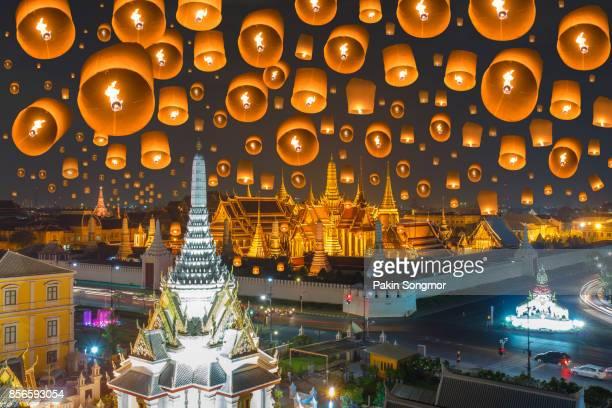 Floating lamp in yee peng festival under loy krathong day at Wat phra kaew and Grand palace at night, Beautiful Landmark of Thailand, Bangkok