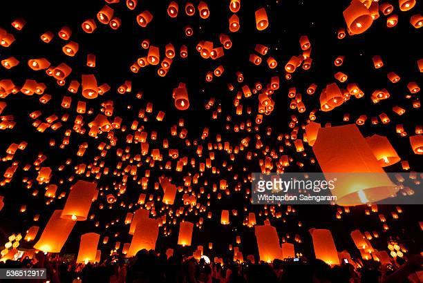 Floating lantern at Yee peng festival