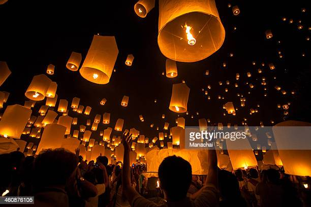 floating lantern festival 2012 - lantern stock photos and pictures