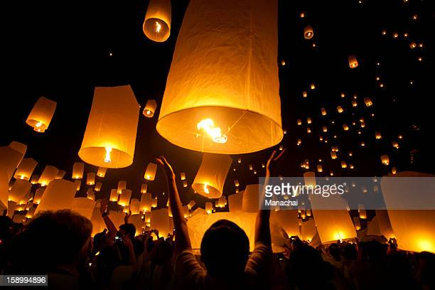 floating lantern festival - lantern stock photos and pictures