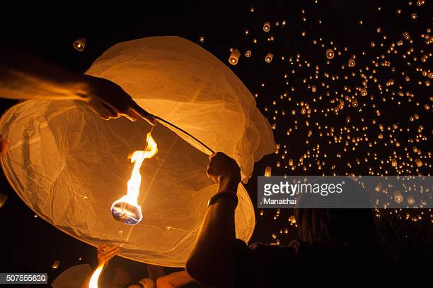 floating lantern festival - lantern festival stock photos and pictures