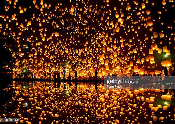 Floating lantern, YeePeng,Firework Festival in Chiangmai Thailand