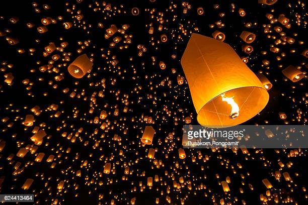 floating lantern yi peng firework festival in chiangmai - luck stock pictures, royalty-free photos & images