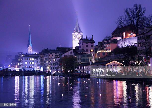 Floating lights, Zurich, river Limmat