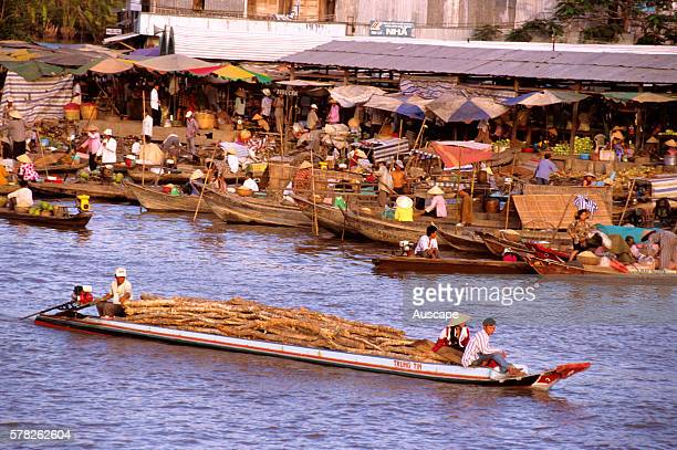 Floating market and river life CA Mau district Delta region of Vietnam